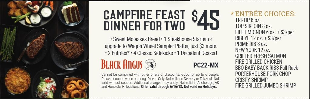 Campfire feast dinner for two for only $45.